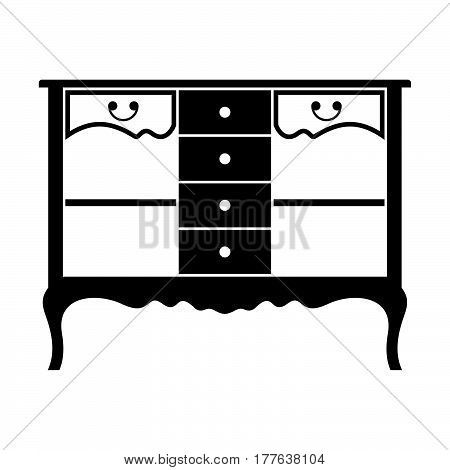 French-style console table, frontal view on white