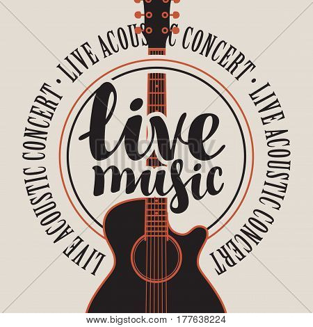 banner with acoustic guitar inscription live music and the words music festival written around