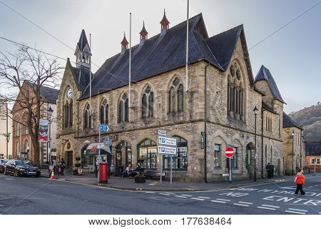 Llangollen Wales UK - March 9 2017: Llangollen Town Hall on Castle Street formerly known as the Assembly Rooms and Market Hall built in 1867 it houses the Llangollen Town Council a concert hall and retail outlets