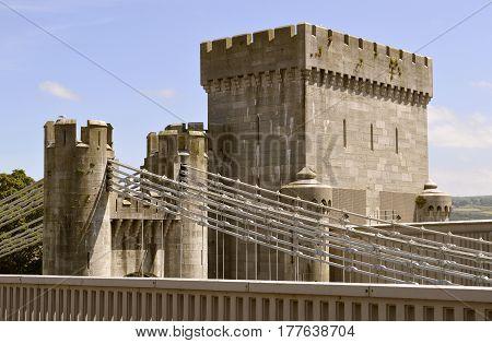 Conwy Wales United Kingdom - June 22 2014 : Conwy Suspension Bridge