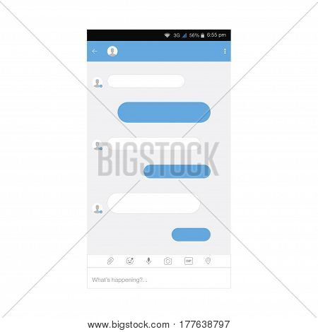 Mobile application for social networking and chat messaging. Flat vector illustration EPS 10
