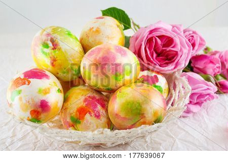 Easter Eggs And Pink Roses Bouquet