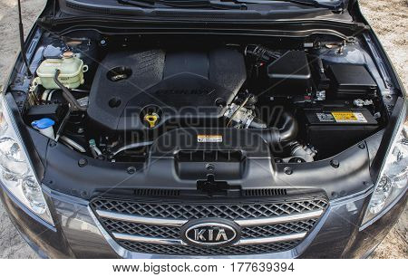 DNIPRO UKRAINE - MARCH 21 2013: KIA CEED DIESEL GRAY COLOR UNDER THE HOOD