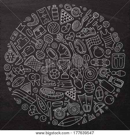 Chalkboard vector hand drawn set of Sport cartoon doodle objects, symbols and items. Round composition