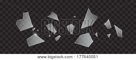 Vector glass explosion concept. Many transparent sharp pieces randomly flying in the air. Glass texture isolated on transparent background.