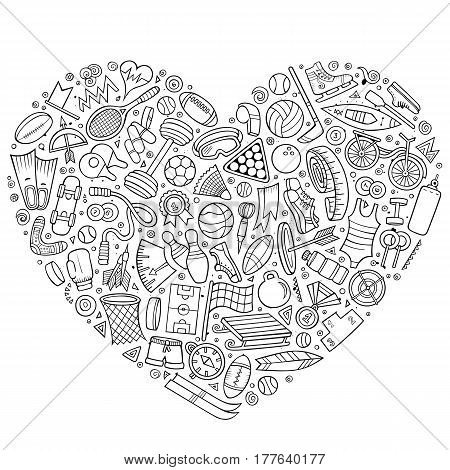 Line art vector hand drawn set of Sport cartoon doodle objects, symbols and items. Heart form composition