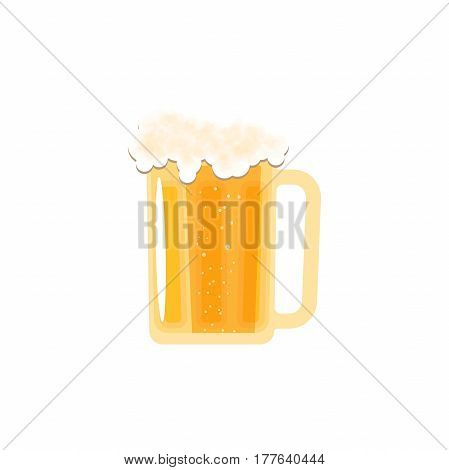 Isolated icon fully loaded mug of light beer with foam on the white background.