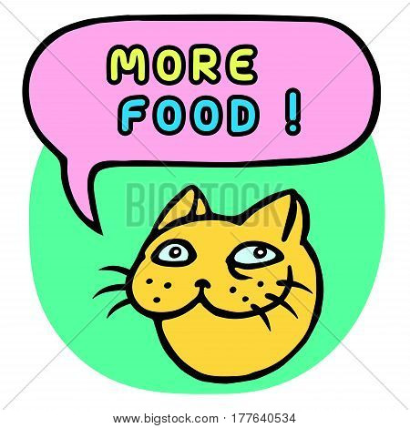 More food! Cartoon Cat Head. Speech Bubble. Vector Illustration. Funny cool emoticon character. Contour freehand digital drawing cute character. Green background. Cheerful pet for web icons and shirt.