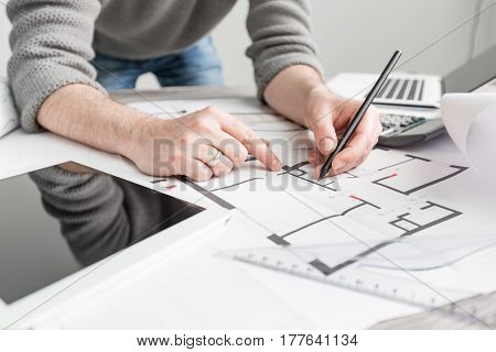 architect architecture drawing project blueprint office business working architectural