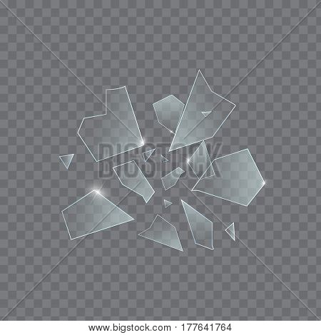 Vector glass explosion isolated on white transparent background. Many sharp pieces randomly flying in the air. Vector glass explosion concept. Transparent glass pieces on gray.