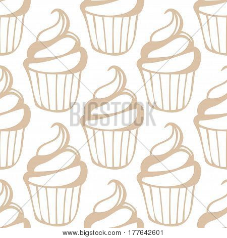 White cream cupcake seamless light beige pattern. Vector illustration