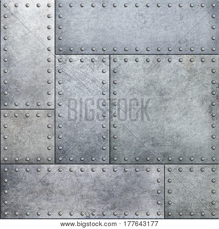 Armor metal plates seamless background 3d illustration