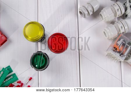 Group of electronic components and parts on white background. Indastry