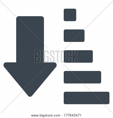 Sort Down Arrow vector icon. Flat smooth blue symbol. Pictogram is isolated on a white background. Designed for web and software interfaces.