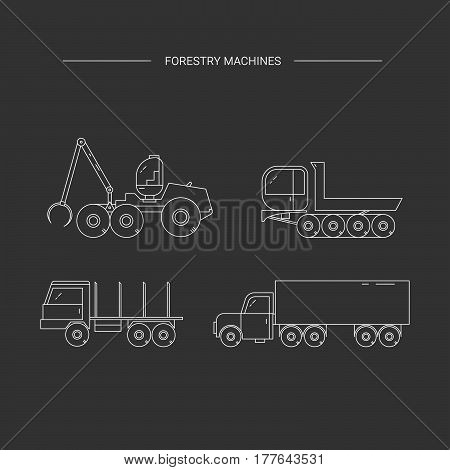 Forestry machines line icon set. Forest harvester truck dumper truck trailer. Wood transportation equipment on a black background.