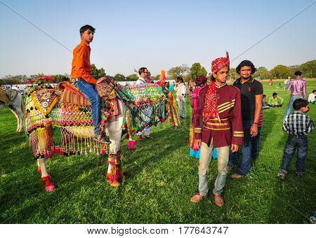 Rajasthani Folk Dancers In Ethnic Attire Perform