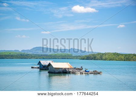 twin house on the lake as blue scene