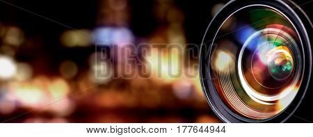 Camera lens with lense reflections. background concepts.