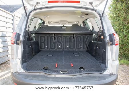 The Back Of A Large Seven 7 Seater Car With Seats In The Trunk
