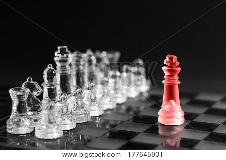 Chess business success leadership concept. Leadership business concept with pawns.