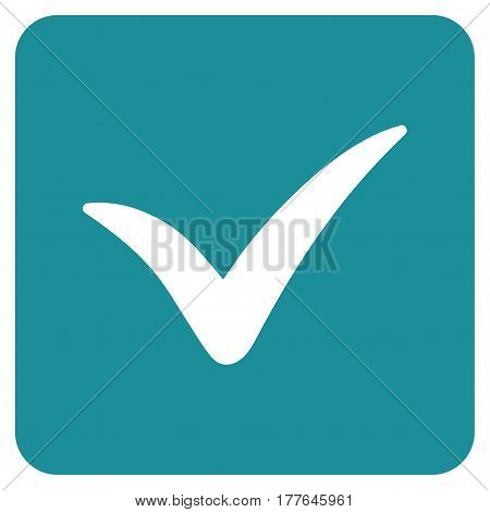 Approve Box vector icon. Flat soft blue symbol. Pictogram is isolated on a white background. Designed for web and software interfaces.