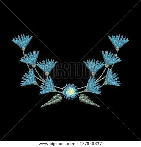 Vector Embroidery wreath Coat of arms Cornflowers illustrations