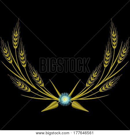 Vector Embroidery wreath Coat of arms Wheat ears and blue Cornflowers illustrations