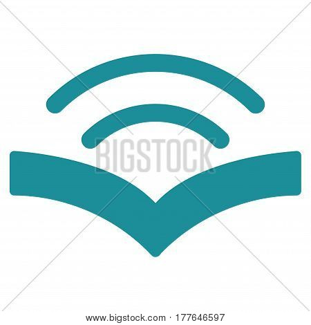 Audiobook vector icon. Flat soft blue symbol. Pictogram is isolated on a white background. Designed for web and software interfaces.