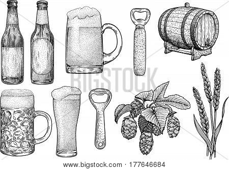 Beer glass, bottle, cup, barrel, hop, wheat, opener illustration, drawing, engraving, ink, line art