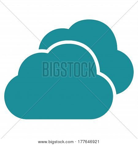 Clouds vector icon. Flat soft blue symbol. Pictogram is isolated on a white background. Designed for web and software interfaces.