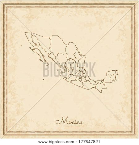 Mexico Region Map: Stilyzed Old Pirate Parchment Imitation. Detailed Map Of Mexico Regions. Vector I