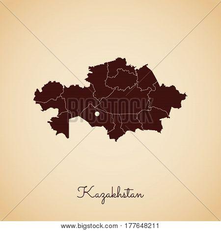 Kazakhstan Region Map: Retro Style Brown Outline On Old Paper Background. Detailed Map Of Kazakhstan