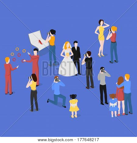 Flat isometric set of photographers. Wedding family and kids photography. Paparazzi journalist. Fashion reportage and advertising photographer