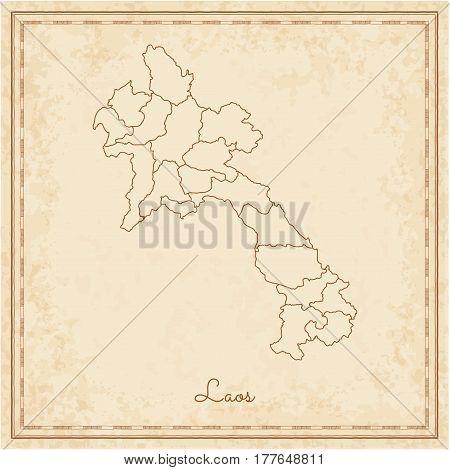 Laos Region Map: Stilyzed Old Pirate Parchment Imitation. Detailed Map Of Laos Regions. Vector Illus