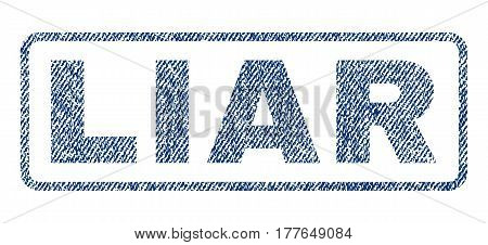 Liar text textile seal stamp watermark. Blue jeans fabric vectorized texture. Vector caption inside rounded rectangular shape. Rubber emblem with fiber textile structure.