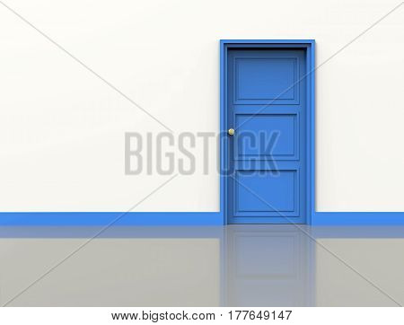 White wall with blue door 3d rendering