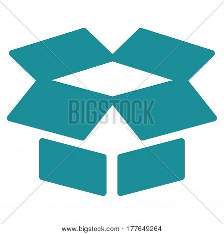 Open Box vector icon. Flat soft blue symbol. Pictogram is isolated on a white background. Designed for web and software interfaces.