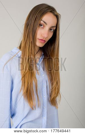 young beautiful woman close up portrait