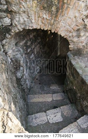 An ancient staircase to the grotto. Fragment of the spa place in Nice.