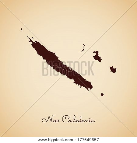 New Caledonia Region Map: Retro Style Brown Outline On Old Paper Background. Detailed Map Of New Cal