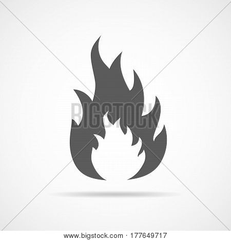 Fire icon. Vector illustration. Gray fire sign in flat design.