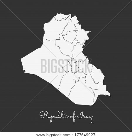 Republic Of Iraq Region Map: White Outline On Grey Background. Detailed Map Of Republic Of Iraq Regi