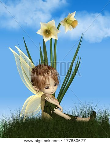 Cute toon daffodil fairy boy sitting next to spring daffodil flowers on a sunny spring day, digital illustration (3d rendering)