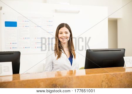 Beautiful Receptionist In A Clinic