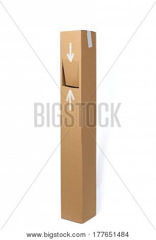 Second life of cardboard box made into trash box. Isolated on white