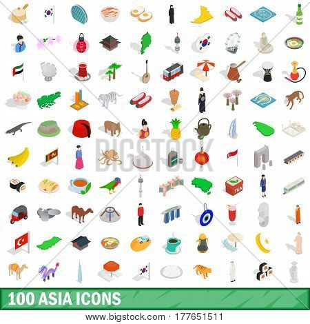100 asia icons set in isometric 3d style for any design vector illustration