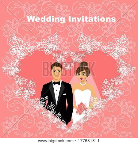 Bride and groom. Wedding card with the newlyweds in the heart of butterflies on the background with ornament. Wedding invitation. Vector illustration.