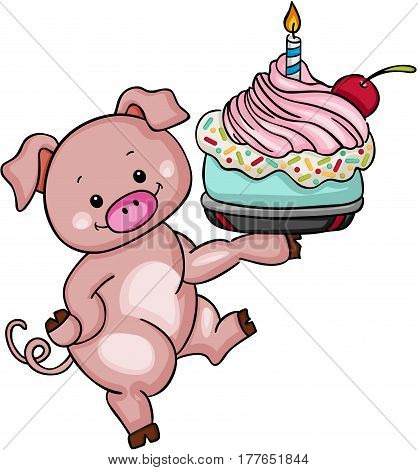 Scalable vectorial image representing a cute pig holding birthday cake, isolated on white.