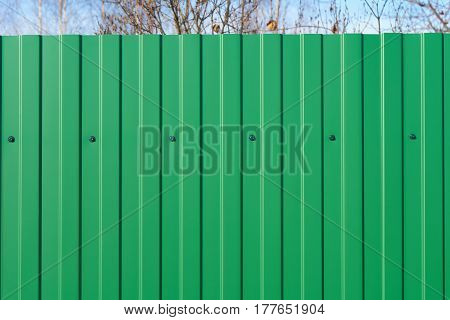 Green fence made of metal panels outdoors