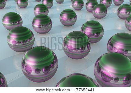 Steel Ball Reflection Green